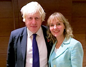 Guess who's coming to dinner? Boris Johnson, that's who! Photo of Lysette Offley and Boris Johnson