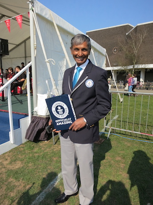 Reading University's world record attempt - photo of Guinness Book of Records judge