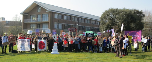 Reading University's world record attempt - photo of protesters