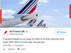 Social Media Funnies #alevelresults. Tweet from AirFrance