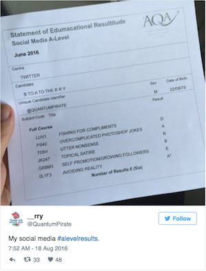 Social Media Funnies #alevelresults. Photo of mock exam certificate